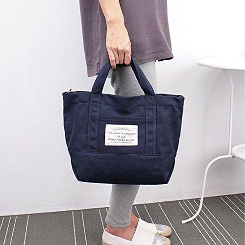 mixinni® Einfache Messenger Tasche Bag Tragetasche Damen Handtasche Schultertasche Damentaschen Einkaufstaschen Segeltuch Schulterbeutel Marineblau