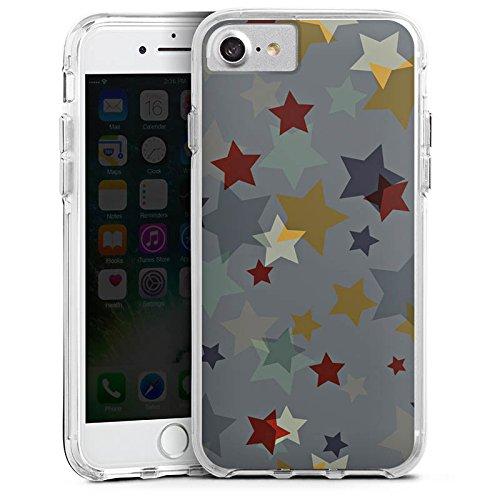 Apple iPhone 7 Bumper Hülle Bumper Case Glitzer Hülle Sterne Stars Muster Bumper Case transparent