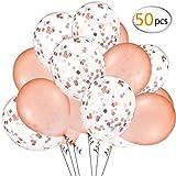 ANPHSIN 50 Stück Konfetti Ballons(12 Zoll), Rose Gold Konfetti Luftballons, Latex Luftballons, Konfetti Gefüllte Luftballons für Geburtstagsfeier Hochzeit Party und Festival Dekoration