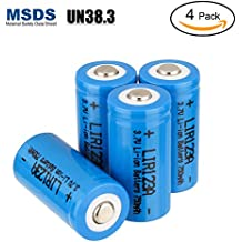 LYPULIGHT CR123A Pilas de Litio Batería 3.7V 750mAh Recargable 16340 para Arlo Cámara Linterna Videocámara Antorcha de Juguete, Pack de 4
