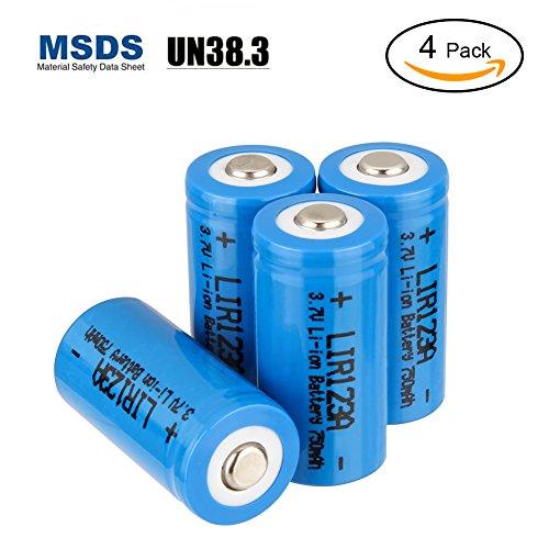 Galleria fotografica Batterie RCR123A ricaricabili, LYPULIGHT RCR123A 4 Pezzi Batterie al litio ricaricabile 16340 750mAh 3,7V Per torce fotocamere prodotti elettronici