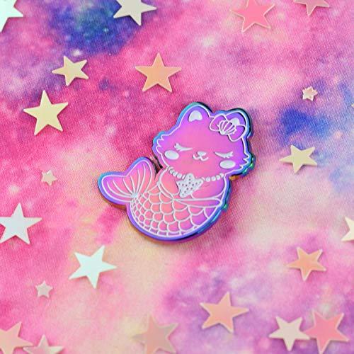 Emaille Enamel Pin Katze Kitty Kätzchen Rainbow Metal Metall Regenbogen Cat Kitty Mermaid Mercat Purrmaid Enamel Emaille Anstecker Kawaii Meerjungfrau Pastell