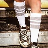 The grey Greys | Retro Socken von Spirit of 76 | Weiß, Grau gestreift | kniehoch | Unisex Strümpfe Size L (43-46)