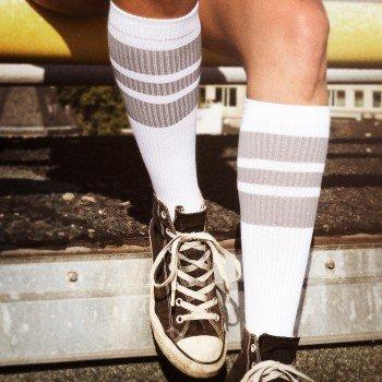 Spirit of 76 The grey Greys | Retro Socken Weiß, Grau gestreift | kniehoch | Unisex Strümpfe Size L (43-46)