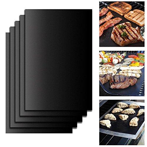 5x/Set wiederverwendbar BBQ Grill Matte, Barbecue Grill Hot Plate, Aluminiumguss Bakeware hitzebeständig rutschsicher Tabelle Mikrowelle Outdoor BBQ Zubehör Backen Kochen Werkzeug 33x 40cm - Hot Plate-matten