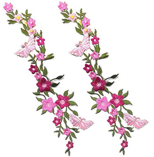 2 Stück neue Schmetterlinge Blume Applique Stickerei Tuch Paste Blüte Blume Applique Kleidung Patch DIY gestickt Blume Patches