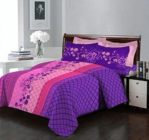 Bombay Dyeing 140 TC Cotton Double Bedsheet with 2 Pillow Covers -...