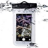 Movoja Unterwasser-Handy-Schützhülle | Wasserdichte Tasche | Wasser und staubdichte Hülle für alle Smartphonemodelle bis 5.5 Zoll | iPhone 6 6s 7 7 Plus Huawei Samsung S7 S8 | Perfekter Sandschutz
