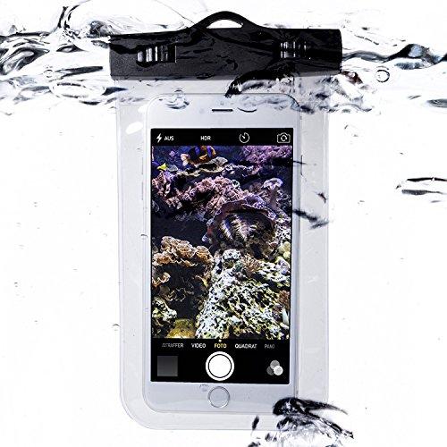 Movoja [ Unterwasser-Handy-Schützhülle ] Wasserdichte Tasche | Wasser und staubdichte Hülle für alle Smartphonemodelle bis 5.5 Zoll | iPhone 6 6s 7 7 Plus Huawei Samsung S7 S8| Ideal für Unterwegs | Perfekter Sandschutz | Unterwasserhülle