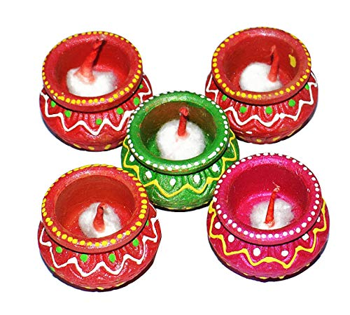Craftsman Diwali-Diya-Set 5 Stück, handgefertigt, natürliche Erdöl-Lampe/Welcome Traditionelle Diyas mit Baumwolldochten Batti. Deepawali Diya Lampe. Diwali Erdlampe Öllampe -