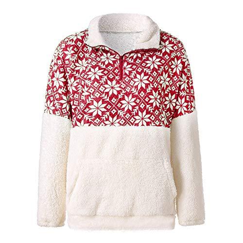 MIRRAY Damen Weihnachten Pullover Blume Gedruckt Patchwork Flauschige Stehkragen Sweatshirt Tasche Jumper Outwear
