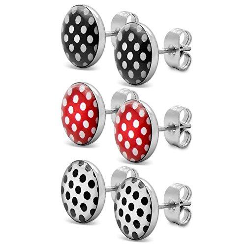 Rock-and-roll-schmuck (Soul-Cats® 3 Paar SET Ohrstecker mit Punkten, Polka Dots 50er Pinup, Farbe: rot mit Punkten, Farbe: Set 3 Farben)