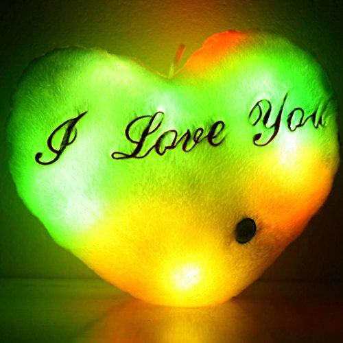 nk,Herz Glühen LED leuchtende Licht Kissen weichen Kissen Kissen Relax Dolls Heimdekorationen (Größe Herz:36cm/14,17