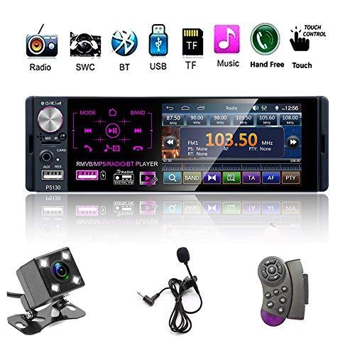 """Single Din Auto Stereo Radio, 12V 4.1\"""" Auto MP5-Player mit Bluetooth Audio & Hands-Free Calling, FM Receiver USB/AUX-in/SD-Kartenanschluss + Steuerung Fernbedienung & Backup-Kamera"""