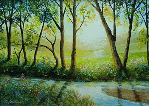il-flusso-35cmx25cm-pittura-di-gocciolamento-del-canale-navigabile-alberi-un-ruscello-poco-profondo-