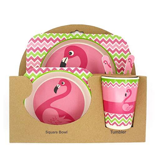Flamingo Geschirr, natürliche Bio-Bambus-Fasern, Flamingo-Design, Kinder-Ess-Set, Bambus, Besteck, Teller und Schalen
