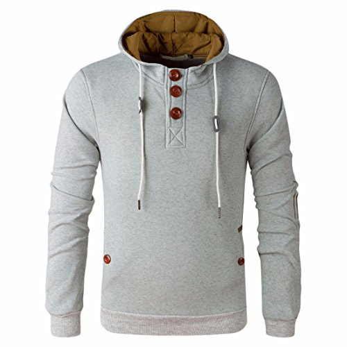 Men's Button Patch Long Sleeve Warm Casual Hoodies gray