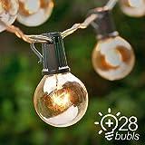 Guirlande Lumineuse Exterieure - Qedertek 25 G40 Guirlande Ampoules Blanc Chaud 7.62M Câble Décoration Intérieure & Extérieure pour Jardin, Patio, Balcon, Mariage (Livré avec 3 Ampoules de Rechange)