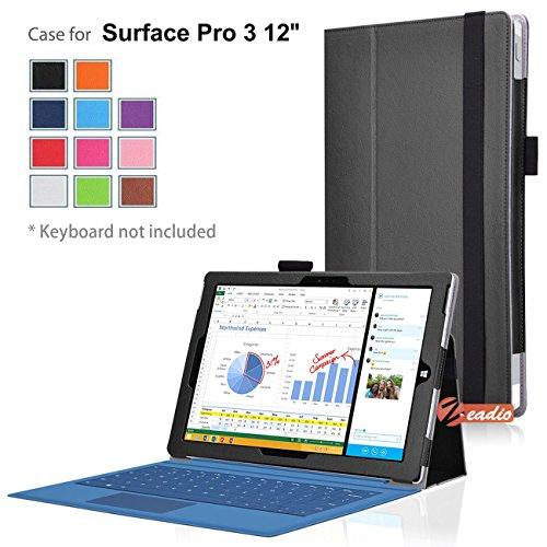 zeadio® Prämie Leder Tasche Hülle Schutzhülle Etui Case Cover mit Ständer für Microsoft Surface PRO 3 (3rd Generation) Windows 8.1 (12 Inch) Tablet - Schwarz