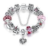 Wostu Pulsera charms de mujer joyas plateado de plata con charms de cristal de murano regalo para mujer niña Cumpleaños San Valentin