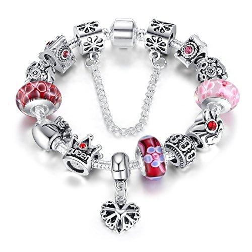 Wostu pulsera del encanto de la mujer adolescente niña,regalo de joyería de moda,Reina Roja Abalorio de cristal de Chapado en plata