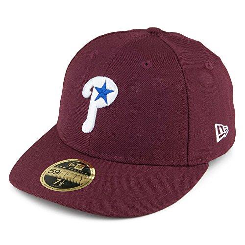 New Era 59Fifty LoPro Phillies Wool Cap MLB Fitted Basecap Flat Brim Baseballcap Kappe Käppi Cap Basecap (7 0/0 (55,8cm) - bordeaux) Flat Brim Fitted Wool Cap