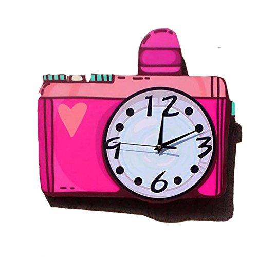 Horloges Rose Rouge caméra en Bois Murale Maison Salon muet 16 Pouces