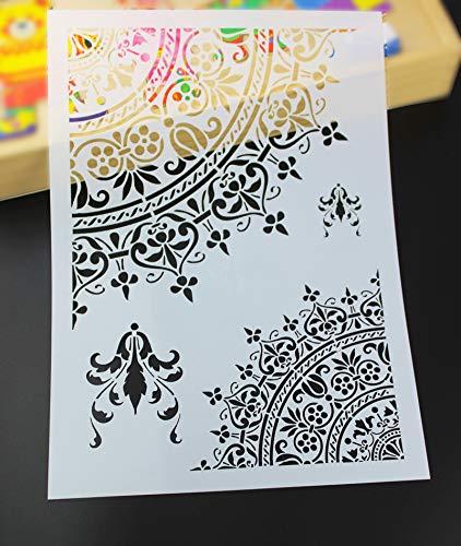 Mazaki Stencils For Walls Painting DIY Handwerk Mandala Schablonen für Wände Malerei Scrapbooking Stempel Album Deko Prägung Papier Karte Blume Vorlage