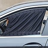 XFAY 2 x Auto Seitenscheibe Vorhänge Schade Sonnenschutz KFZ mit 3M Klebstoff ca. 50x53cm ( Schwarz...