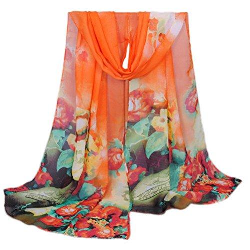 OverDose Bunte Blume Weiche Chiffon Schals Mode Frauen Lange Wrap Schal Damen Schals Halstuch Tücher Schlauchschal,A-Orange