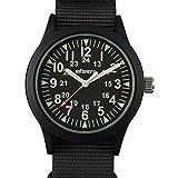 Infantry Herren Analoges Quarzwerk Uhr Leuchtung Sport Schwarz Nylon Armband