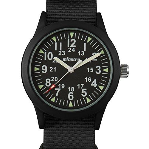 Infantry Herren Armbanduhr Männer Schwarz Fliegeruhr Watches for Men Outdoor Nylonband