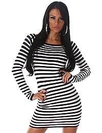 Jela London Damen Strickkleid & Pullover im Streifen-Design Einheitsgröße (34-38)