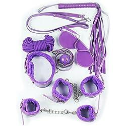 Demarkt 7pcs de cuero felpa Bondage Equipo Kits para el amor ( púrpura)