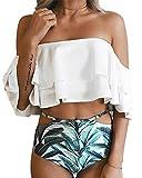 Bademode Frauen, Frau Zwei Stück Off Shoulder Rüschen Volant Crop Bikini Oberteil Mit Print Cut Out Bottoms (S (EU 34), Weiß)