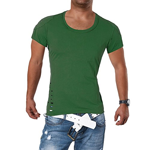 M419 STEGOL Herren Shirt Poloshirt T-Shirt Kurzarm V-Neck Clubwear V-Ausschnitt Olivgrün