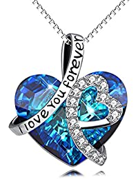 "Sterling Silver ""I Love You Forever"" Heart Pendant Necklace with Swarovski Crystals - Jewellery for Women"