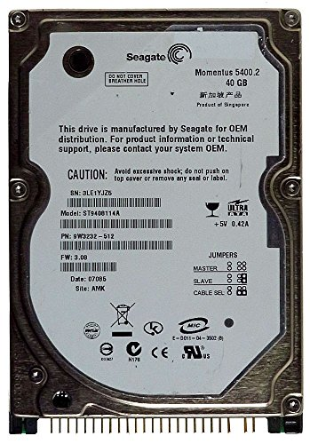 Notebook HDD IDE 40GB Seagate Momentus 5400.2 ST9408114A ID14353 (40gb Laptop Seagate)
