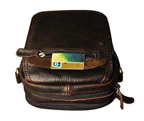 Genda 2Archer Mini Crossbody Tasche Leder Gürtel Tasche für Männer (Braun) Kaffee