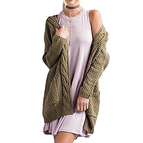 CHENGYANG Donna Cardigan in Maglia Maniche Lunghe Oversized Maglione Cappotto Maglione Outwear Esercito Verde