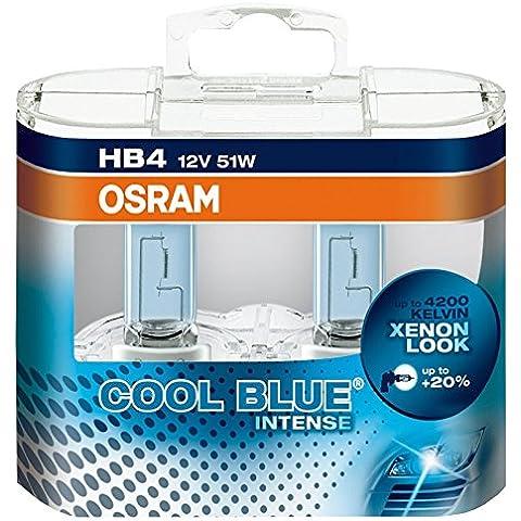 OSRAM COOL BLUE INTENSE HB4  Lámpara halógena de faros 9006CBI-HCB 4200K y 20% más luz, 2 piezas