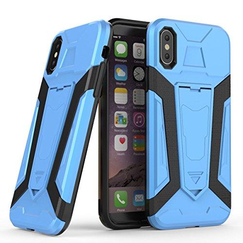 iPhone X Hülle, MOONMINI 2 in 1 Weich TPU Silikon Schale + Hard PC Dual Layer Hybrid Armor Handy Tasche Case Slim Stoßfest Back Schutzschale Schutzhülle für iPhone X (2017) mit Kickstand Kaffee Blau