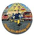 Feuerwehrmann Sam Personalisierte Kuchen Topper Puderzucker Papier 19,1cm M1