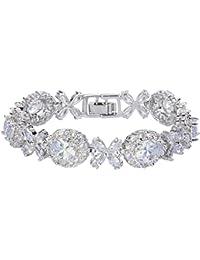 TENYE Cubic Zirconia Romantic Bridal Heart Shaped Tennis Bracelet Silver-Tone wx83h