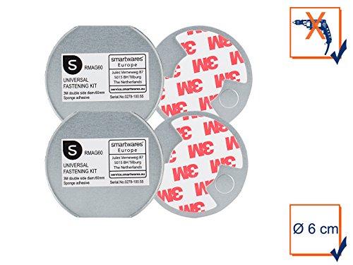 2x Befestigungs-Sets Universal-Magnetmontageplatten Ø 6cm für Rauchmelder