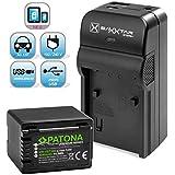 Baxxtar RAZER 600 Ladegerät 5 in 1 + PATONA Premium Akku für Panasonic VW VBT380 (echte 4040mAh) mit Micro USB Eingang und USB-Ausgang zum gleichzeitigen Laden von iPhone, Tablet, Smartphone..