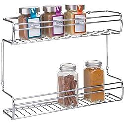 mDesign Rangement épice Mural (Montage Facile) - Range épice Pratique en Acier Inoxydable - Porte épice avec Deux Niveaux pour épices, thés, etc.