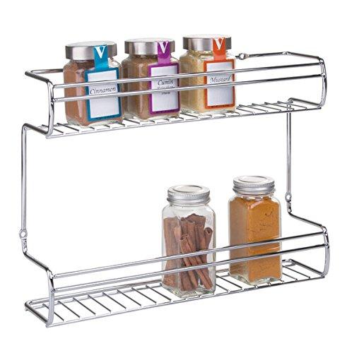 mDesign Gewürzregal - Wand-, oder Schrankmontage - 2 Ebenen für Gewürze, Kräuter, Tee & Co. - Gewürzbord aus robustem Kunststoff - praktische Gewürz Aufbewahrung