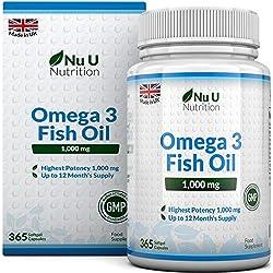Omega 3 | Aceite de Pescado | 1000 mg | 365 Cápsulas (Suministro Anual) | Complemento alimenticio de Nu U Nutrition