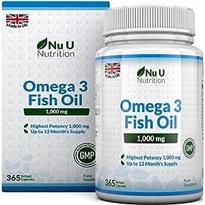 Omega 3 Fischöl 1000 mg von Nu U   365 Kapseln (Versorgung für 12 Monate)   100% GELD-ZURÜCK-GARANTIE   Maximale Stärke und Aufnahmefähigkeit   Hergestellt in Großbritannien